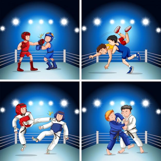 Conjunto de diferentes cenas de luta