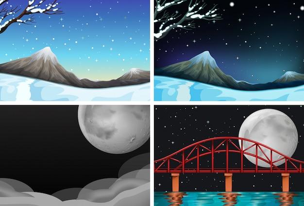 Conjunto de diferentes cenas de natureza linda