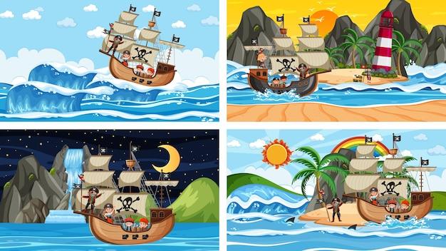 Conjunto de diferentes cenas de praia com navio pirata e personagem de desenho animado pirata