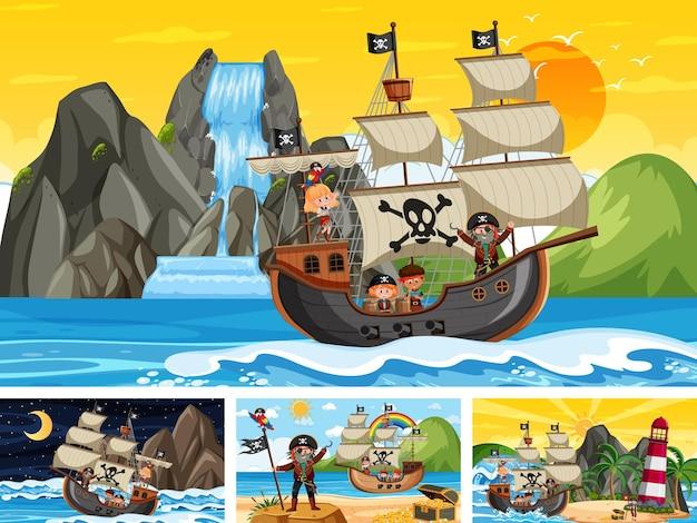 Conjunto de diferentes cenas de praia com navio pirata