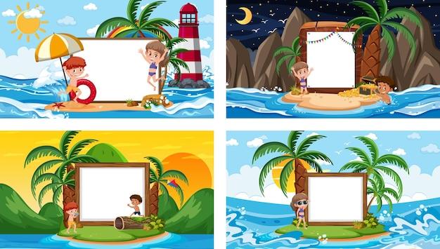 Conjunto de diferentes cenas de praia tropical com banner em branco