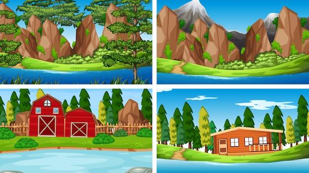 Conjunto de diferentes cenas de rio