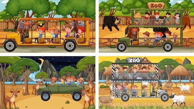 Conjunto de diferentes cenas de safári com animais e personagens de desenhos animados infantis