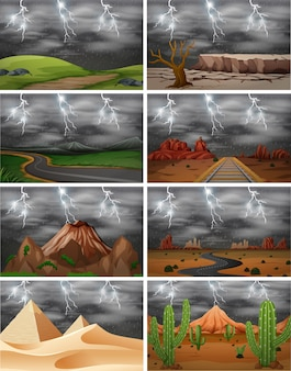 Conjunto de diferentes cenas de tempestade