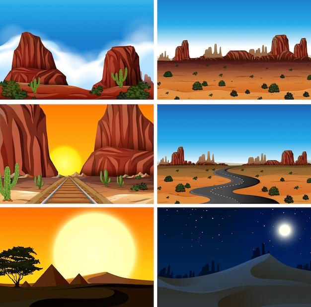 Conjunto de diferentes cenas do deserto