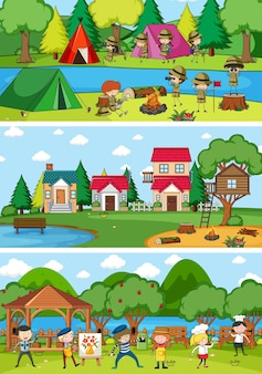 Conjunto de diferentes cenas horizontais com o personagem de desenho animado doodle de crianças