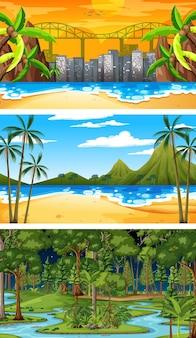 Conjunto de diferentes cenas horizontais de floresta em tempos diferentes