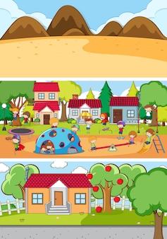 Conjunto de diferentes cenas horizontais de fundo com o personagem de desenho animado doodle de crianças