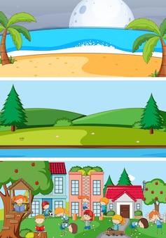 Conjunto de diferentes cenas horizontais de fundo com personagem de desenho animado doodle Vetor grátis