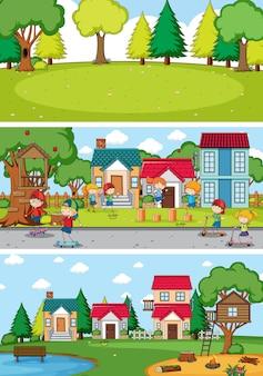 Conjunto de diferentes cenas horizontais de fundo com personagem de desenho animado doodle