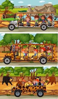 Conjunto de diferentes cenas horizontais de safári com animais e personagens de desenhos animados infantis