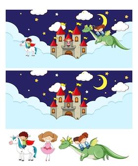 Conjunto de diferentes cenas horizontais do céu de fadas com o personagem de desenho animado doodle de crianças