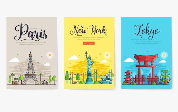 Conjunto de diferentes cidades para destinos de viagem. Vetor Premium