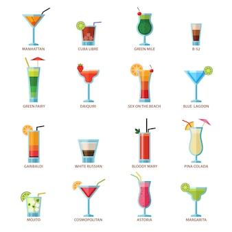 Conjunto de diferentes cocktails de bebida de álcool
