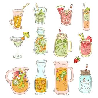 Conjunto de diferentes cocktails e batidos
