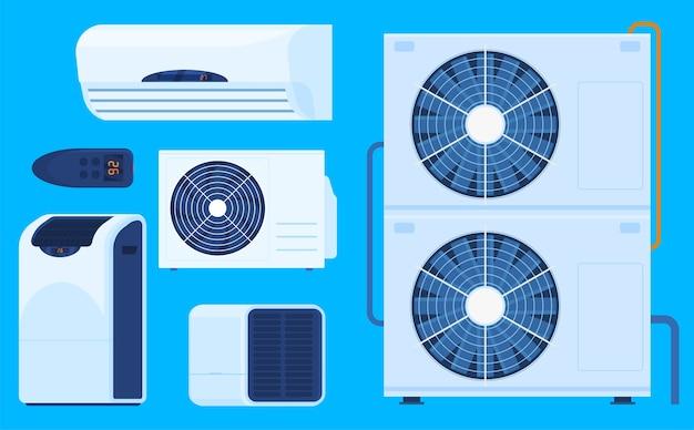 Conjunto de diferentes condicionadores de ar ilustrado