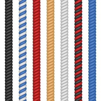 Conjunto de diferentes cordas coloridas, isolado no fundo branco. corda de corda torcida náutica em ilustração estilo cartoon plana