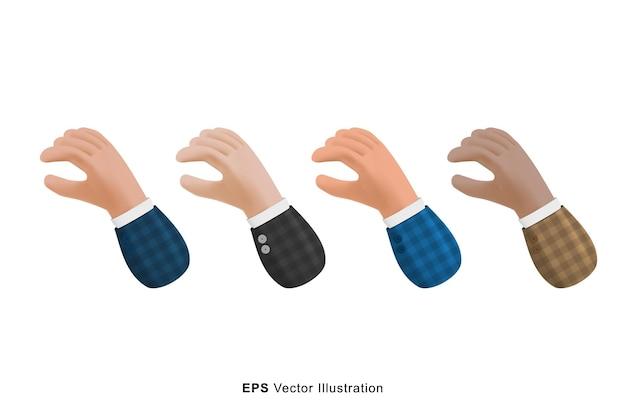 Conjunto de diferentes cores com gestos para escolher o objeto. ilustração em vetor 3d dos desenhos animados