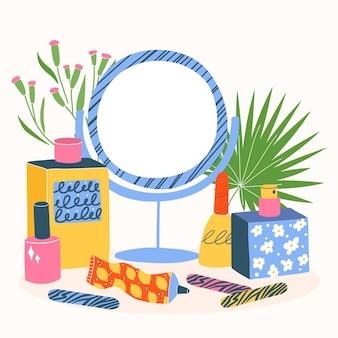 Conjunto de diferentes cosméticos, tubos, garrafas, potes, manteiga corporal, esmaltes, perfume. coleção de produtos de beleza ecológicos e de cuidados da pele coloridos em branco com folhas.