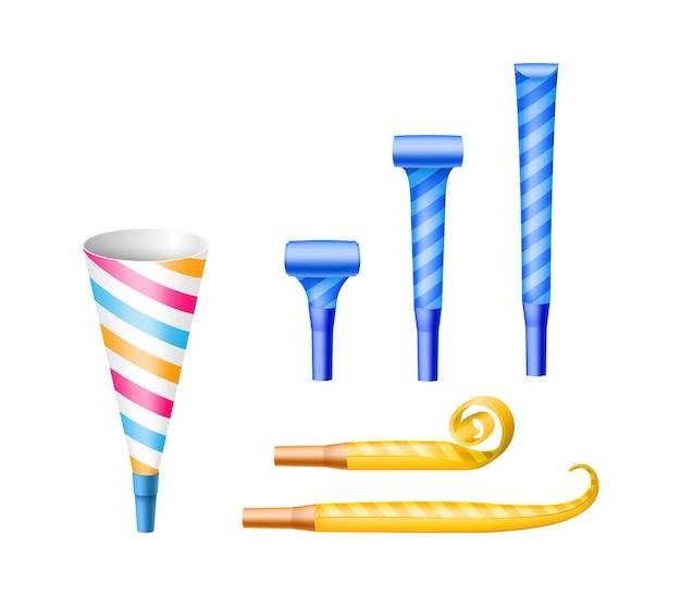 Conjunto de diferentes criadores de ruído de festa: cones de chifre de papel e apitos de soprador para evento, festival ou celebração surpresa. elementos de decoração brilhantes. ilustração vetorial