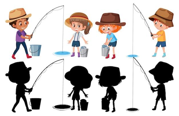 Conjunto de diferentes crianças pescando personagens de desenhos animados de peixes no fundo branco