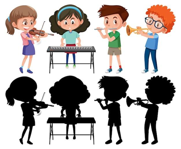 Conjunto de diferentes crianças tocando instrumentos musicais com uma silhueta