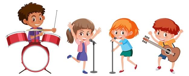 Conjunto de diferentes crianças tocando instrumentos musicais