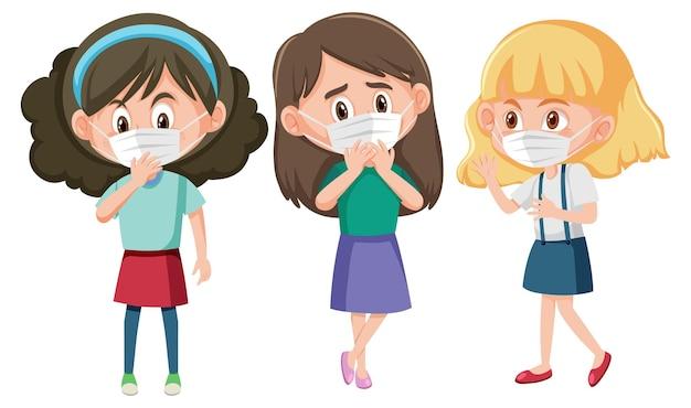 Conjunto de diferentes crianças usando máscara de personagem de desenho animado