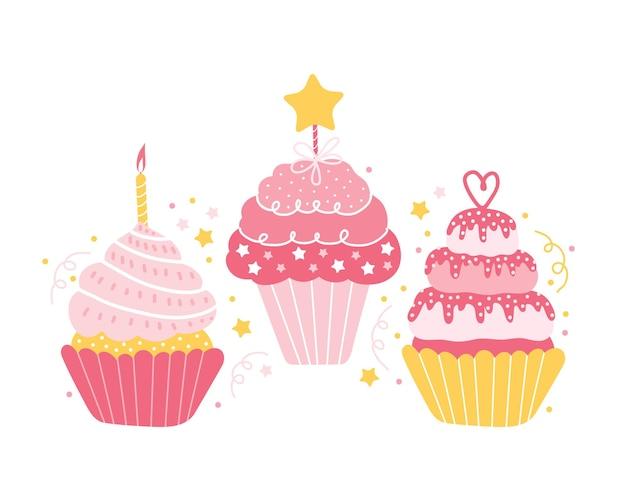 Conjunto de diferentes cupcakes rosa festivos isolados.