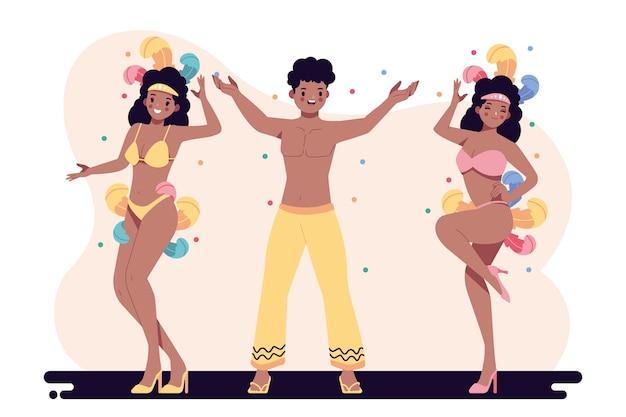 Conjunto de diferentes dançarinos de carnaval