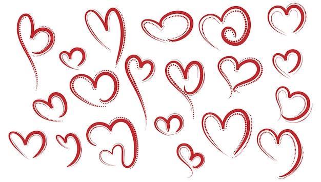 Conjunto de diferentes desenhos de corações vermelhos