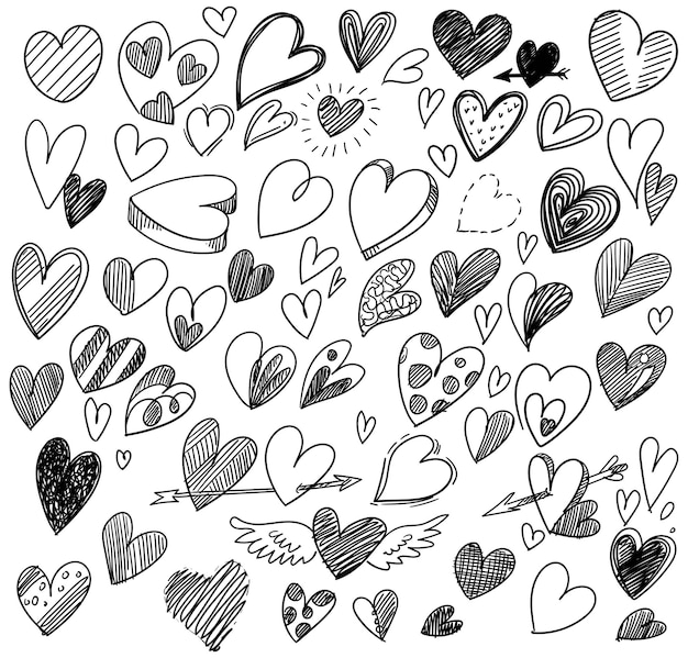 Conjunto de diferentes desenhos de desenhos de corações de doodle