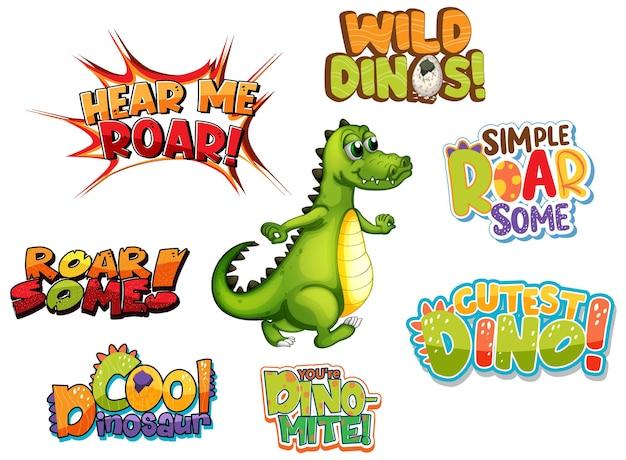 Conjunto de diferentes designs de tipografia de palavras de dinossauros com um personagem de desenho animado de dragão fofo