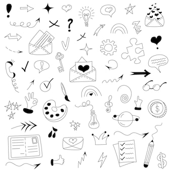 Conjunto de diferentes elementos de doodle, como envelopes bulbos flechas fitas corações estrelas