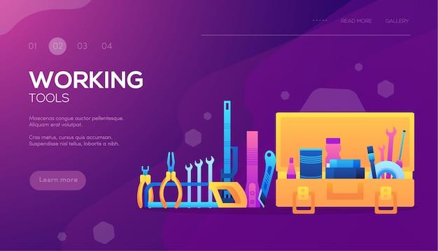 Conjunto de diferentes elementos de empresa de construção. banner da web de ferramentas de trabalho, cabeçalho da interface do usuário, entrada no site.