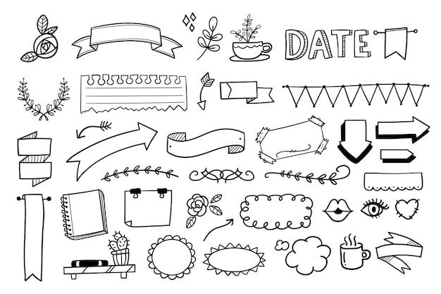 Conjunto de diferentes elementos de marcador de diário
