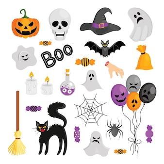 Conjunto de diferentes elementos festivos para o dia das bruxas