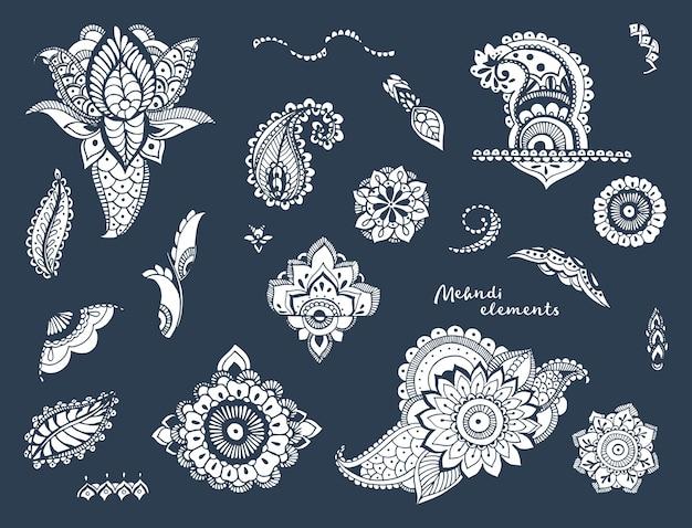 Conjunto de diferentes elementos mehndi desenhados à mão