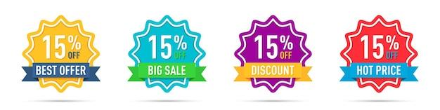 Conjunto de diferentes emblemas de promoção de 15% de desconto
