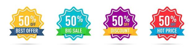 Conjunto de diferentes emblemas de promoção de 50% de desconto
