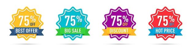 Conjunto de diferentes emblemas de promoção de 75% de desconto