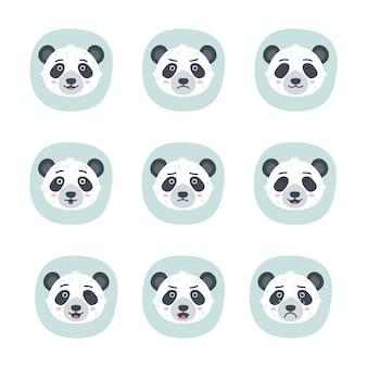 Conjunto de diferentes emoções de panda, ilustração vetorial