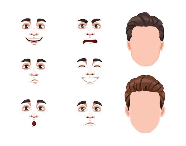 Conjunto de diferentes emoções masculinas. rostos em branco e expressões de homem bonito