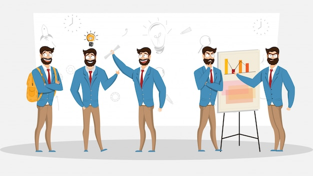 Conjunto de diferentes empresários em poses de trabalho.
