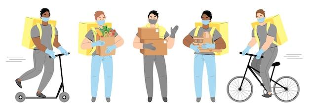 Conjunto de diferentes entregadores com máscaras, andando de bicicleta ou scooter para entregar alimentos ou pacotes a tempo