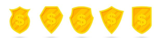 Conjunto de diferentes escudos dourados com ícone de dólar