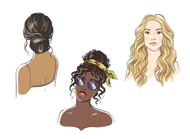Conjunto de diferentes estilos de cabelo feminino, ilustração vetorial de mulheres de diferentes etnias