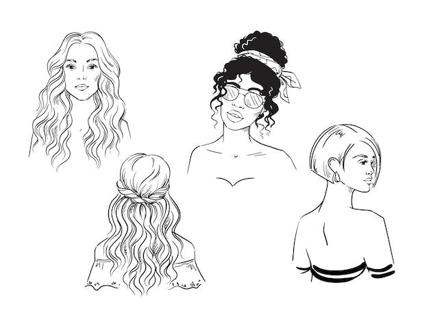 Conjunto de diferentes estilos de cabelo femininos com desenho em preto e branco