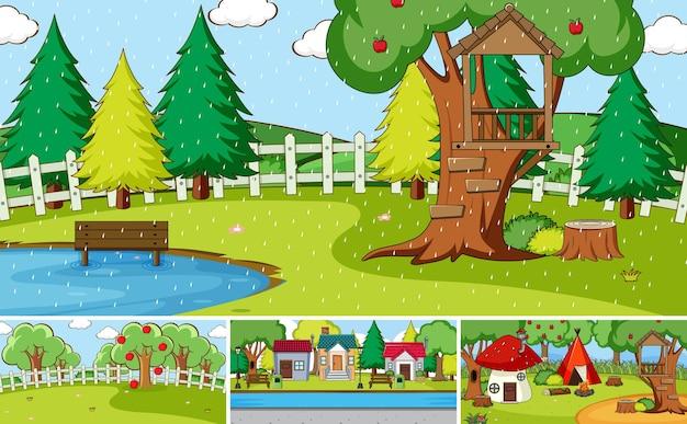 Conjunto de diferentes estilos de desenho de cenas da natureza