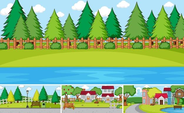 Conjunto de diferentes estilos de desenho de cenas de casas ao ar livre